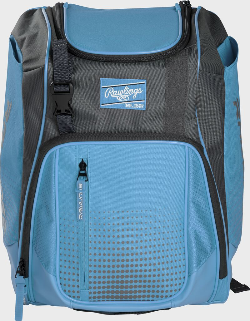 Front of a Columbia blue Franchise baseball backpack with gray accents and a Columbia blue Rawlings patch - SKU: FRANBP-CB