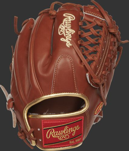 Back view of a PROS204-4BR 11.5-inch Pro Preferred modified trap glove with a bruciato kip leather back