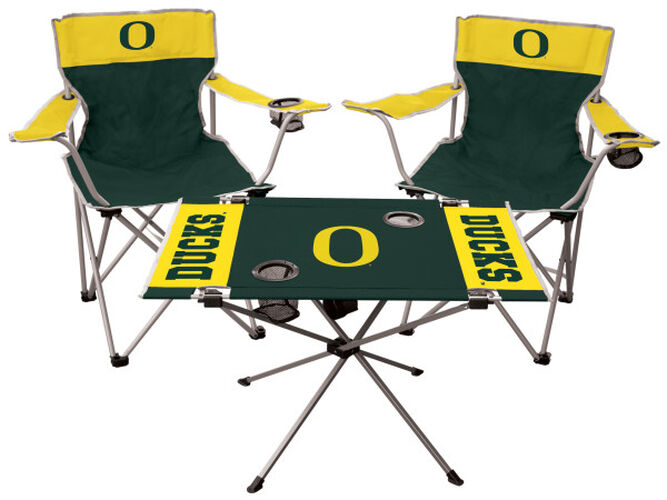 Front of Rawlings Green and Yellow NCAA Oregon Ducks 3-Piece Tailgate Kit With Two Kickoff Chairs, An Endzone Table, And A Transport Bag With Team Logo SKU #00993095511