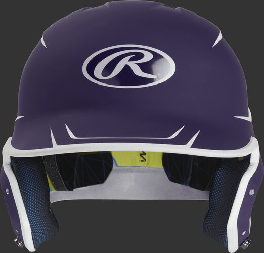 Front of a matte purple/white MACH senior size batting helmet
