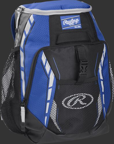 Side angle of a royal R400 Rawlings youth players backpack with a Rawlings patch logo and Gray Oval R logo