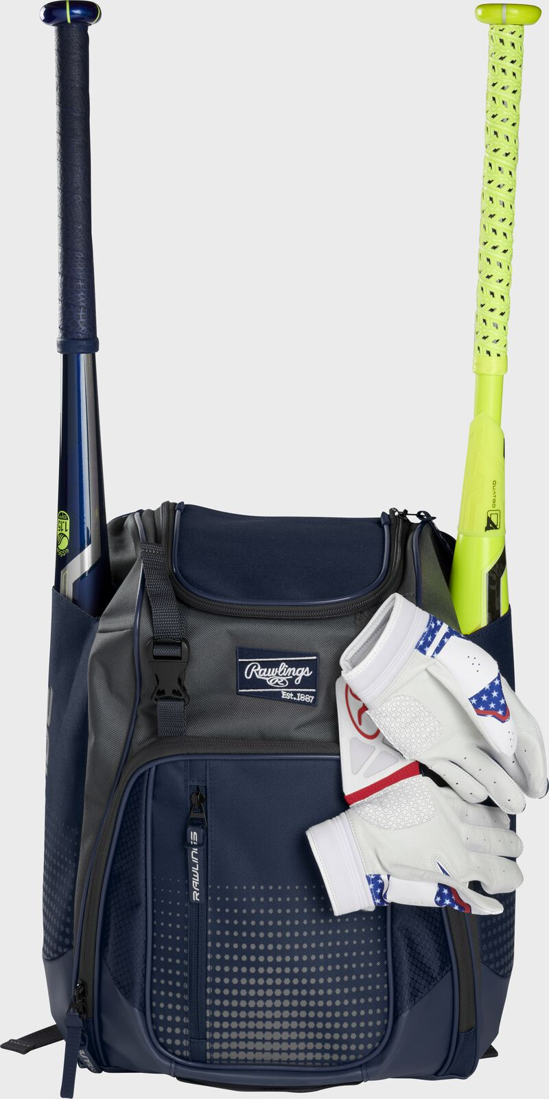 A navy Franchise backpack with two bats in the sides and batting gloves on the front Velcro strap - SKU: FRANBP-N