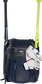 A navy Franchise backpack with two bats in the sides and batting gloves on the front Velcro strap - SKU: FRANBP-N image number null
