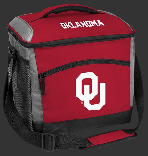 A red Oklahoma Sooners 24 can soft sided cooler with screen printed team logos - SKU: 10223045111