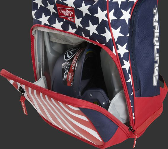 A USA Legion backpack with gear in the main compartment - SKU: LEGION-USA