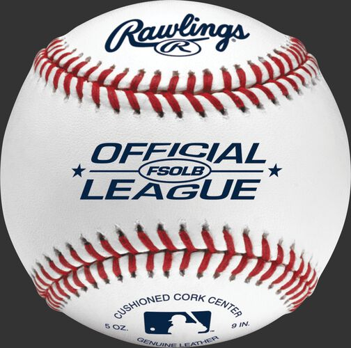 FSOLB Official League flat seam baseball with blue stamping