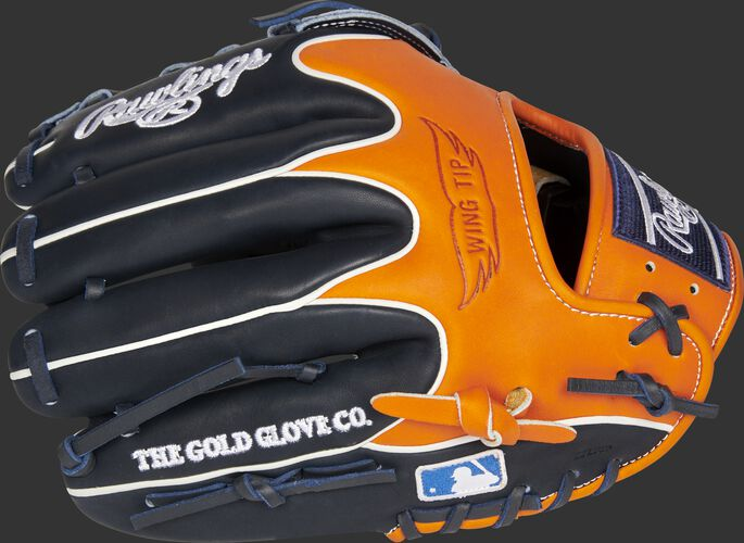 Navy/orange back of a Detroit Tigers Heart of the Hide infield glove with the MLB logo on the pinky - SKU: RSGPRO204W-6DET