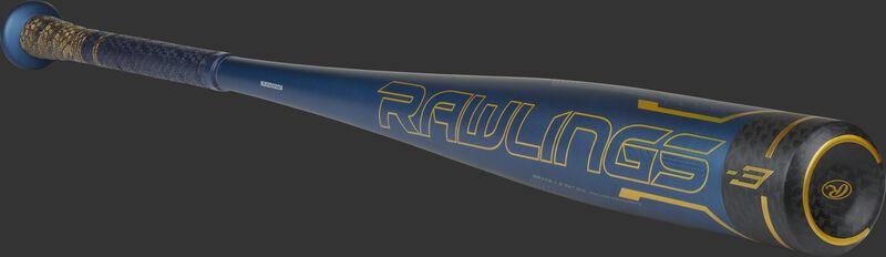 Angled view of a 2021 Rawlings Velo ACP BBCOR bat with a black carbon fiber end cap - SKU: BB1V3