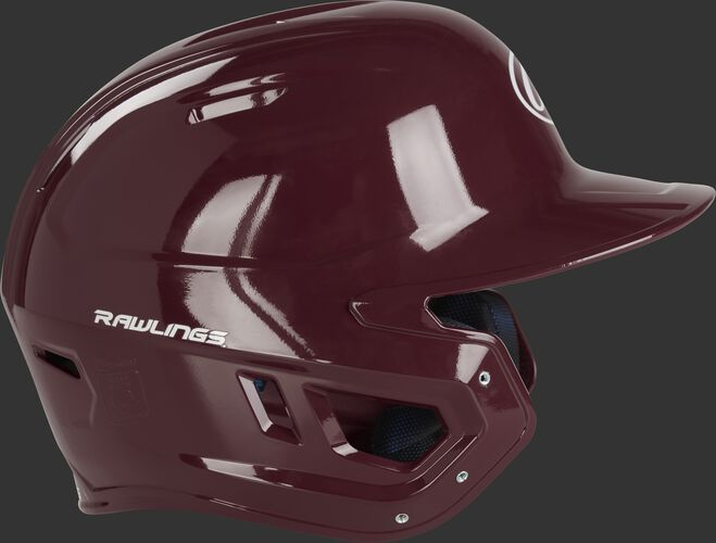 Right side ear flap of a MCH01A Rawlings Mach helmet with a maroon shell