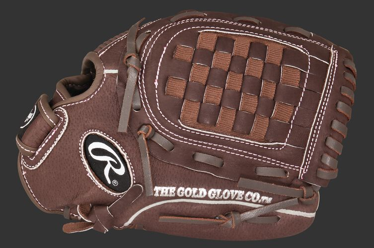 Thumb of a brown Rawlings 11.5-inch fastpitch softball glove with a brown Basket web - SKU: MODFP115