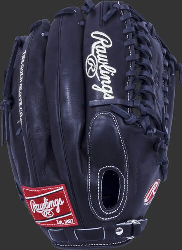 Back of a black 12.75 in Pro Preferred Trap-Eze web glove with a fastback design - SKU: PROS601KBPRO