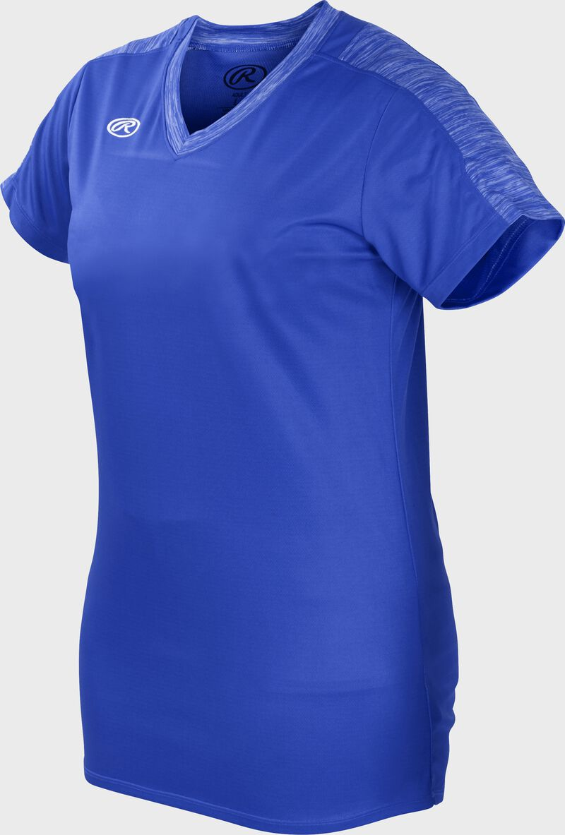 Front of Rawlings Women's Royal Adult Short Sleeve Launch Jersey  - SKU #WLNCHJ-R