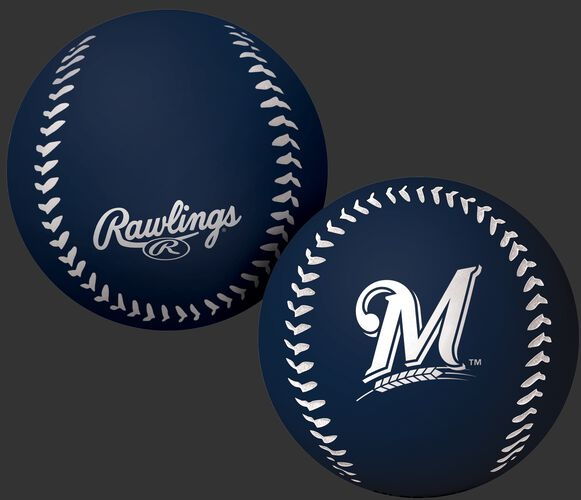 Rawlings Milwaukee Brewers Big Fly Rubber Bounce Ball With Team Logo on Front In Team Colors SKU #02870006112