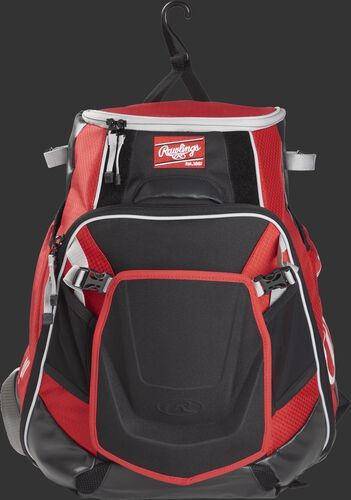 A scarlet VELOBK Rawlings Velo bag with a hook to hang it on the fence