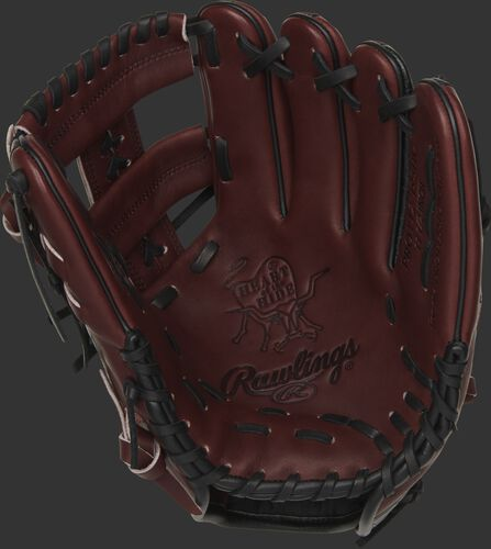 Sherry palm of a Rawlings HOH exclusive glove with a sherry web and black laces - SKU: PROTT2-19SHC