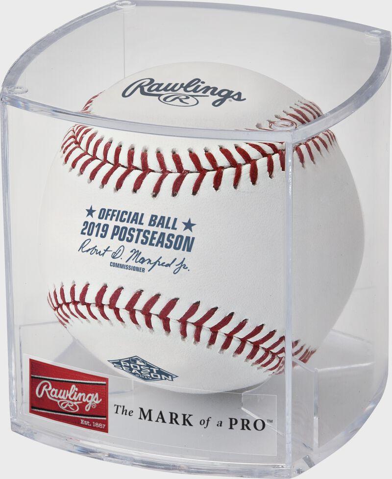 ROMLBPS19 2019 MLB Post Season ball in a display case