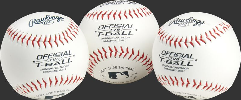 3 youth league training t-balls with blue stamping and red stitching - SKU: RSGTVBPK3