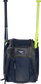 Front of a navy Rawlings Franchise baseball backpack with two bats in the side sleeves - SKU: FRANBP-N image number null