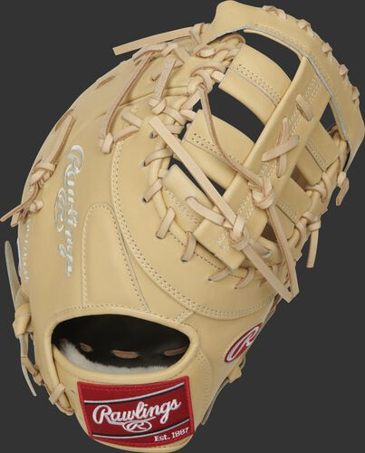 Camel back of a 2021 13-Inch Pro Preferred first base mitt with a red Rawlings patch - SKU: PROSDCTCC