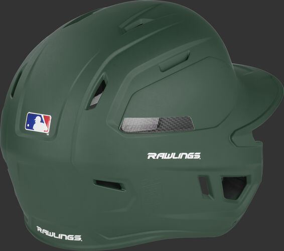 Back right of a matte dark green CAR07A Rawlings high performance adult helmet with air vents on the back