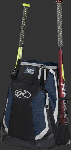 Left side of a black/navy R500 baseball backpack with a red bat in the side sleeve