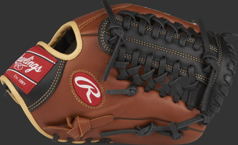 Thumb view of a brown S1175MT Sandlot Series 11.75-inch infield/pitching glove with a black Modified Trap-Eze web