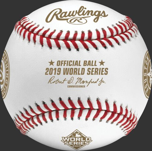 Gold stamps on a WSBB19DL MLB 2019 World Series Dueling baseball with the commissioner's signature on the Official Ball of MLB