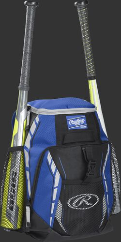 Side angle view of a royal R400 youth equipment backpack with two bats in the side bat sleeves