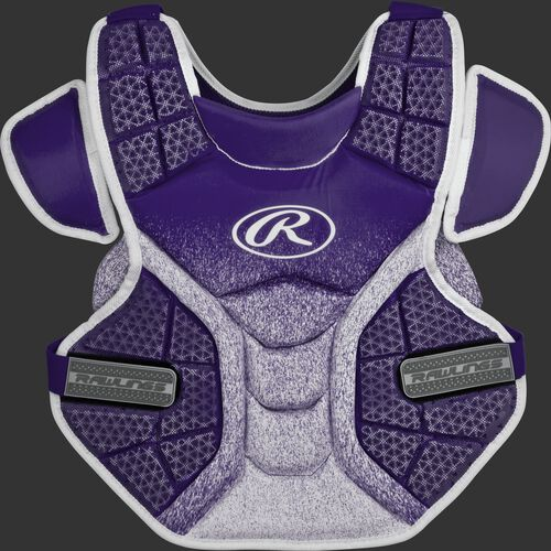 Front of a purple/white SBCPV Velo adult softball chest protector