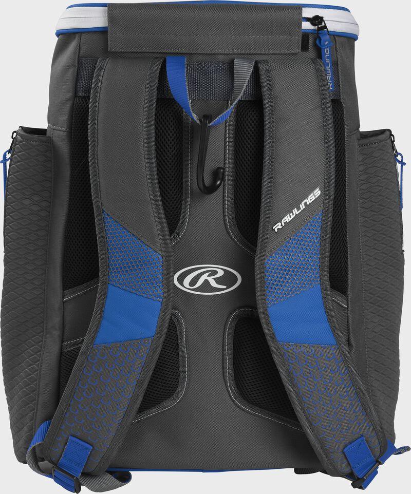 Back of a royal Rawlings Impulse baseball backpack with gray shoulder straps - SKU: IMPLSE-R