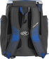 Back of a royal Rawlings Impulse baseball backpack with gray shoulder straps - SKU: IMPLSE-R image number null