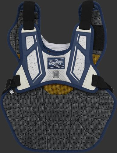 Back harness of a navy/white CPV2N adult Velo 2.0 chest protector with Dynamic Fit System 2.0