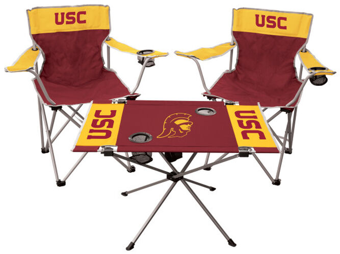 Front of Rawlings Red and Yellow NCAA USC Trojans 3-Piece Tailgate Kit With Two Kickoff Chairs, An Endzone Table, And A Transport Bag With Team Logo SKU #00993100511