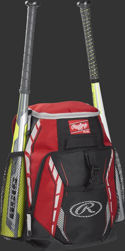 Side angle view of a scarlet R400 youth equipment backpack with two bats in the side bat sleeves