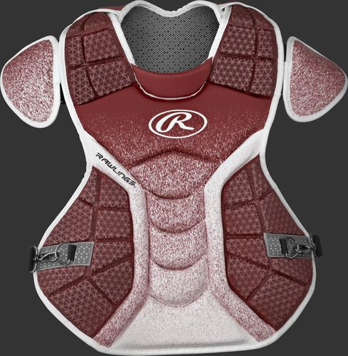 A cardinal/white CPVEL Velo series adult chest protector
