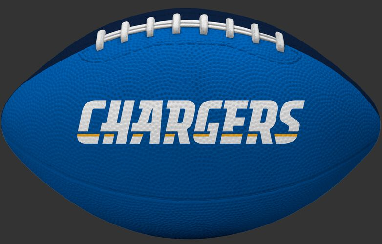 Blue side of a Los Angeles Chargers Gridiron tailgate football with team name SKU #09501083121