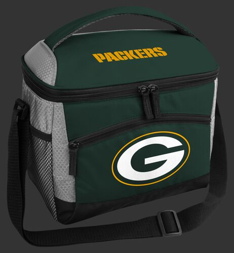 A green colored Green Bay Packers 12 can soft sided cooler with a team logo on the front - SKU: 10111068111