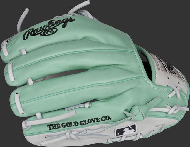 Back of a mint Heart of the Hide, Pro Preferred hybrid infield glove with the MLB logo on the pinky - SKU: RSGPRO204-2WM