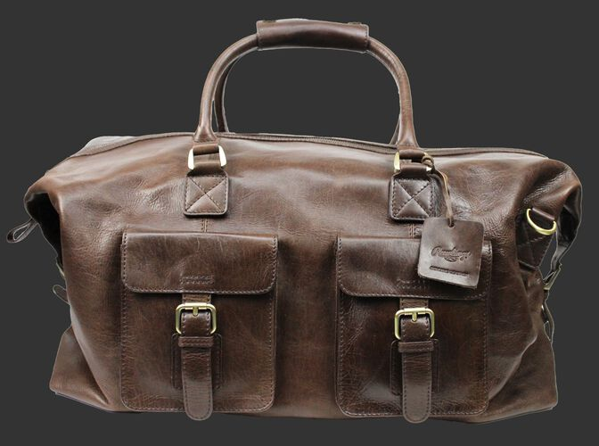A brown Rugged duffle bag with 2 compartments on the front and leather handles - SKU: RS10023-200
