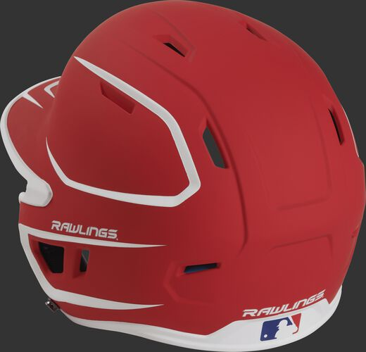 Back left view of a matte scarlet/white MACH series batting helmet with air vents