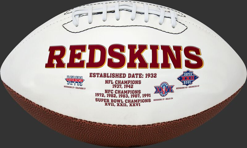 White NFL Washington Redskins Football With Team Name SKU #06541087811