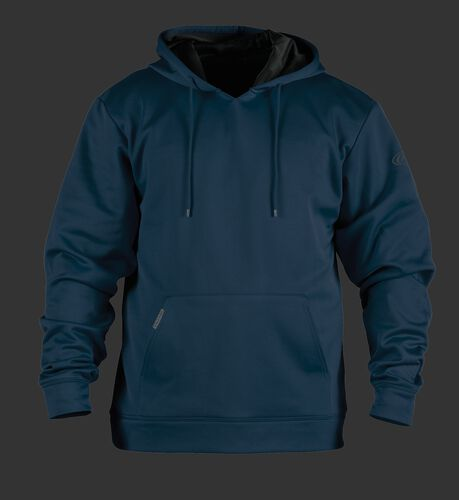 Front of Rawlings Navy Youth Long Sleeve Hoodie - SKU #YPFH