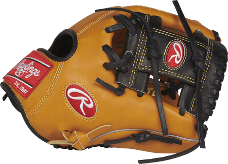 Thumb view of a PROS204-2RTB Pro Preferred rich tan infield glove with a black I web