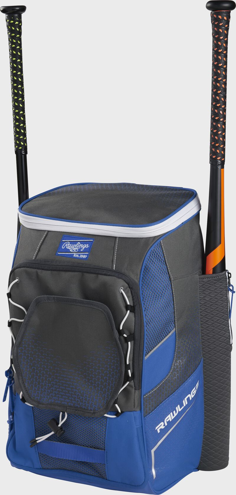 Front right angle view of a royal Impulse backpack with two bats in the side sleeves - SKU: IMPLSE-R