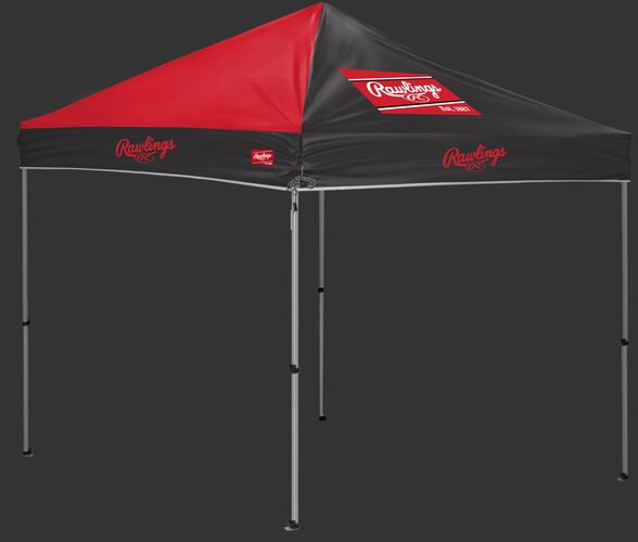 A red/black Rawlings 9x9 canopy with a red Rawlings patch on one side - SKU: 04034043511