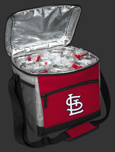 An open St. Louis Cardinals 24 can cooler filled with ice and drinks - SKU: 10200007111