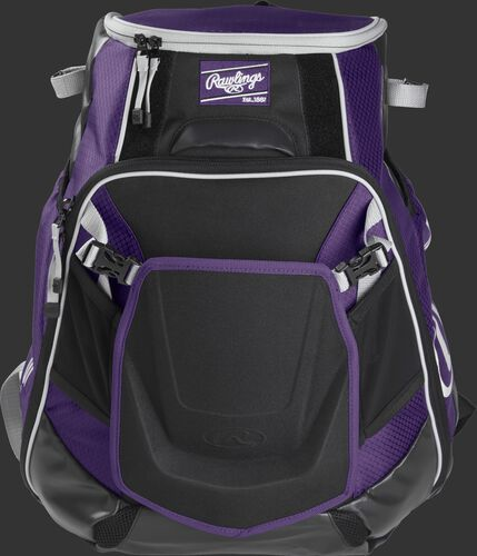 Front of a purple VELOBK Velo backpack with purple trim and a purple Rawlings patch