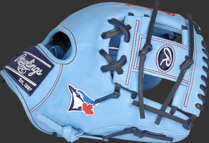 Thumb of a Columbia blue Toronto Blue Jays Heart of the Hide glove with the Blue Jays logo on the thumb - SKU: RSGPRO204-2TOR