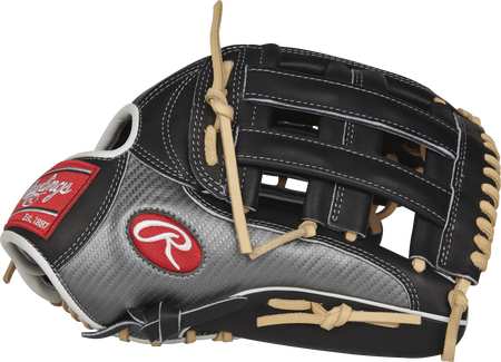 Thumb view of a PRO3039-6BCF Heart of the Hide Hyper Shell outfield glove with a black H web