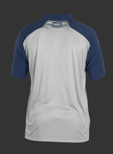 Back of a gray ColorSync polo with navy sleeves and navy Rawlings patch on the back neckline - SKU: CSP-BG/N